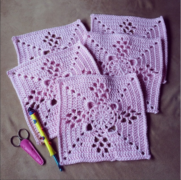 5 down, 8 to go! @monicacrochets squares are beautiful!